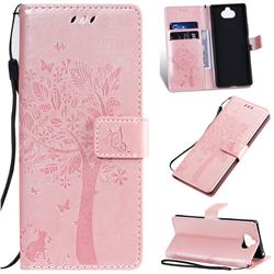 Embossing Butterfly Tree Leather Wallet Case for Sony Xperia 20 - Rose Pink