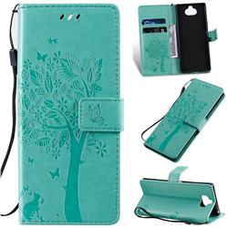Embossing Butterfly Tree Leather Wallet Case for Sony Xperia 20 - Cyan