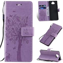 Embossing Butterfly Tree Leather Wallet Case for Sony Xperia 20 - Violet