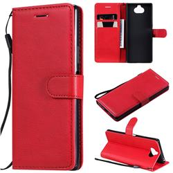Retro Greek Classic Smooth PU Leather Wallet Phone Case for Sony Xperia 20 - Red
