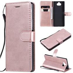 Retro Greek Classic Smooth PU Leather Wallet Phone Case for Sony Xperia 20 - Rose Gold
