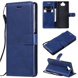Retro Greek Classic Smooth PU Leather Wallet Phone Case for Sony Xperia 20 - Blue
