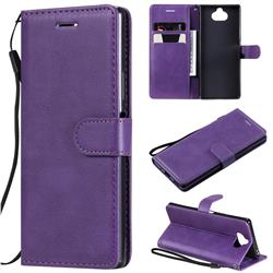 Retro Greek Classic Smooth PU Leather Wallet Phone Case for Sony Xperia 20 - Purple