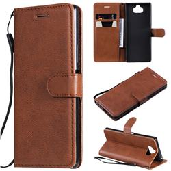 Retro Greek Classic Smooth PU Leather Wallet Phone Case for Sony Xperia 20 - Brown