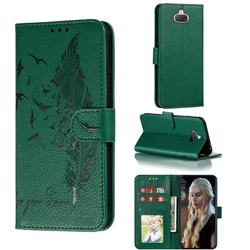 Intricate Embossing Lychee Feather Bird Leather Wallet Case for Sony Xperia 20 - Green