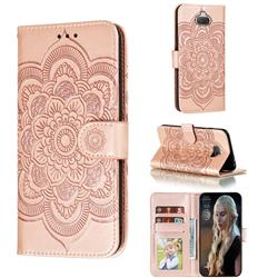 Intricate Embossing Datura Solar Leather Wallet Case for Sony Xperia 20 - Rose Gold