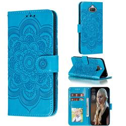 Intricate Embossing Datura Solar Leather Wallet Case for Sony Xperia 20 - Blue