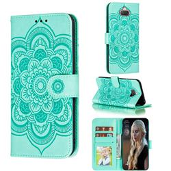 Intricate Embossing Datura Solar Leather Wallet Case for Sony Xperia 20 - Green