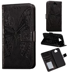 Intricate Embossing Vivid Butterfly Leather Wallet Case for Sony Xperia 20 - Black