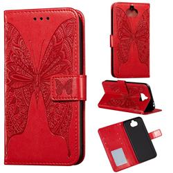 Intricate Embossing Vivid Butterfly Leather Wallet Case for Sony Xperia 20 - Red