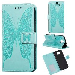 Intricate Embossing Vivid Butterfly Leather Wallet Case for Sony Xperia 20 - Green