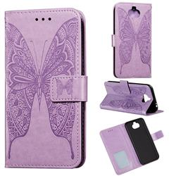 Intricate Embossing Vivid Butterfly Leather Wallet Case for Sony Xperia 20 - Purple