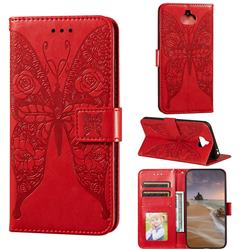 Intricate Embossing Rose Flower Butterfly Leather Wallet Case for Sony Xperia 20 - Red