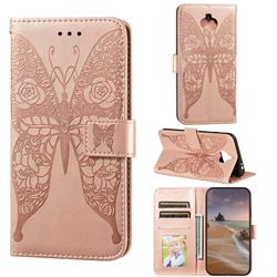 Intricate Embossing Rose Flower Butterfly Leather Wallet Case for Sony Xperia 20 - Rose Gold