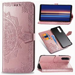 Embossing Imprint Mandala Flower Leather Wallet Case for Sony Xperia 5 - Rose Gold