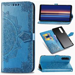 Embossing Imprint Mandala Flower Leather Wallet Case for Sony Xperia 5 - Blue