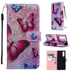 Blue Butterfly Sequins Painted Leather Wallet Case for Sony Xperia 5