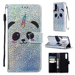Panda Unicorn Sequins Painted Leather Wallet Case for Sony Xperia 5