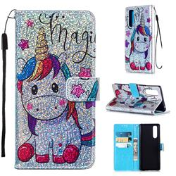 Star Unicorn Sequins Painted Leather Wallet Case for Sony Xperia 5