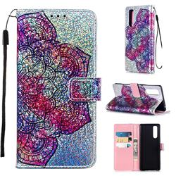 Glutinous Flower Sequins Painted Leather Wallet Case for Sony Xperia 5