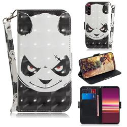Angry Bear 3D Painted Leather Wallet Phone Case for Sony Xperia 5