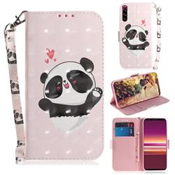 Heart Cat 3D Painted Leather Wallet Phone Case for Sony Xperia 5