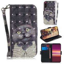 Cat Embrace 3D Painted Leather Wallet Phone Case for Sony Xperia 5