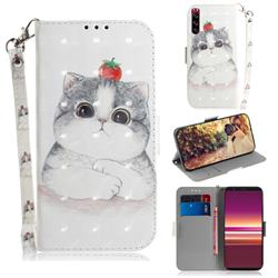 Cute Tomato Cat 3D Painted Leather Wallet Phone Case for Sony Xperia 5