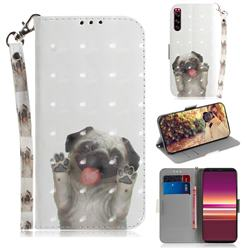 Pug Dog 3D Painted Leather Wallet Phone Case for Sony Xperia 5