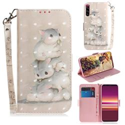 Three Squirrels 3D Painted Leather Wallet Phone Case for Sony Xperia 5