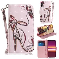 Butterfly High Heels 3D Painted Leather Wallet Phone Case for Sony Xperia 5