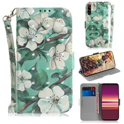 Watercolor Flower 3D Painted Leather Wallet Phone Case for Sony Xperia 5