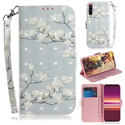 Magnolia Flower 3D Painted Leather Wallet Phone Case for Sony Xperia 5