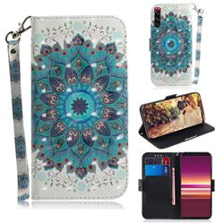 Peacock Mandala 3D Painted Leather Wallet Phone Case for Sony Xperia 5