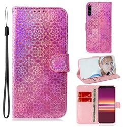 Laser Circle Shining Leather Wallet Phone Case for Sony Xperia 5 - Pink