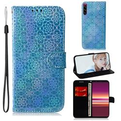 Laser Circle Shining Leather Wallet Phone Case for Sony Xperia 5 - Blue