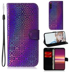 Laser Circle Shining Leather Wallet Phone Case for Sony Xperia 5 - Purple