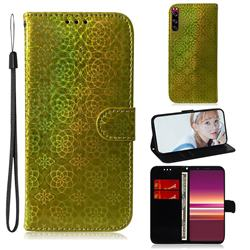Laser Circle Shining Leather Wallet Phone Case for Sony Xperia 5 - Golden