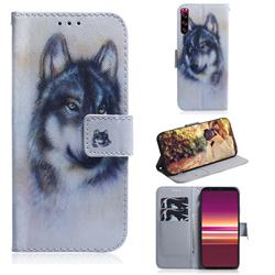 Snow Wolf PU Leather Wallet Case for Sony Xperia 5