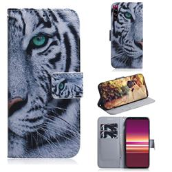 White Tiger PU Leather Wallet Case for Sony Xperia 5