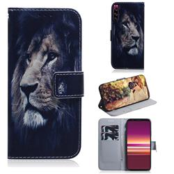 Lion Face PU Leather Wallet Case for Sony Xperia 5