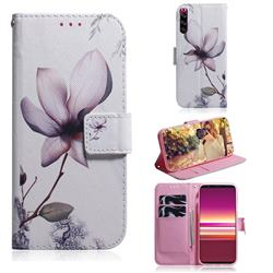 Magnolia Flower PU Leather Wallet Case for Sony Xperia 5