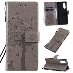 Embossing Butterfly Tree Leather Wallet Case for Sony Xperia 5 - Grey