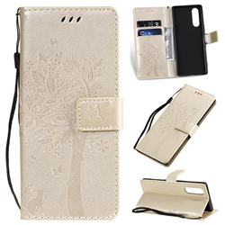 Embossing Butterfly Tree Leather Wallet Case for Sony Xperia 5 - Champagne