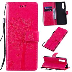 Embossing Butterfly Tree Leather Wallet Case for Sony Xperia 5 - Rose