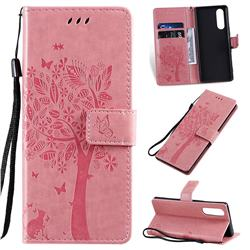 Embossing Butterfly Tree Leather Wallet Case for Sony Xperia 5 - Pink