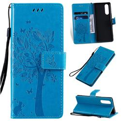 Embossing Butterfly Tree Leather Wallet Case for Sony Xperia 5 - Blue