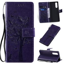 Embossing Butterfly Tree Leather Wallet Case for Sony Xperia 5 - Purple