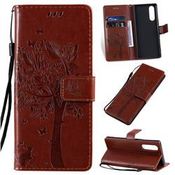 Embossing Butterfly Tree Leather Wallet Case for Sony Xperia 5 - Coffee