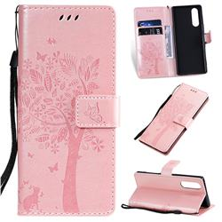 Embossing Butterfly Tree Leather Wallet Case for Sony Xperia 5 - Rose Pink